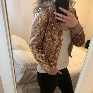 Forever 21 Jackets & Coats - ~Forever 21~ Rose Gold Sequin Bomber